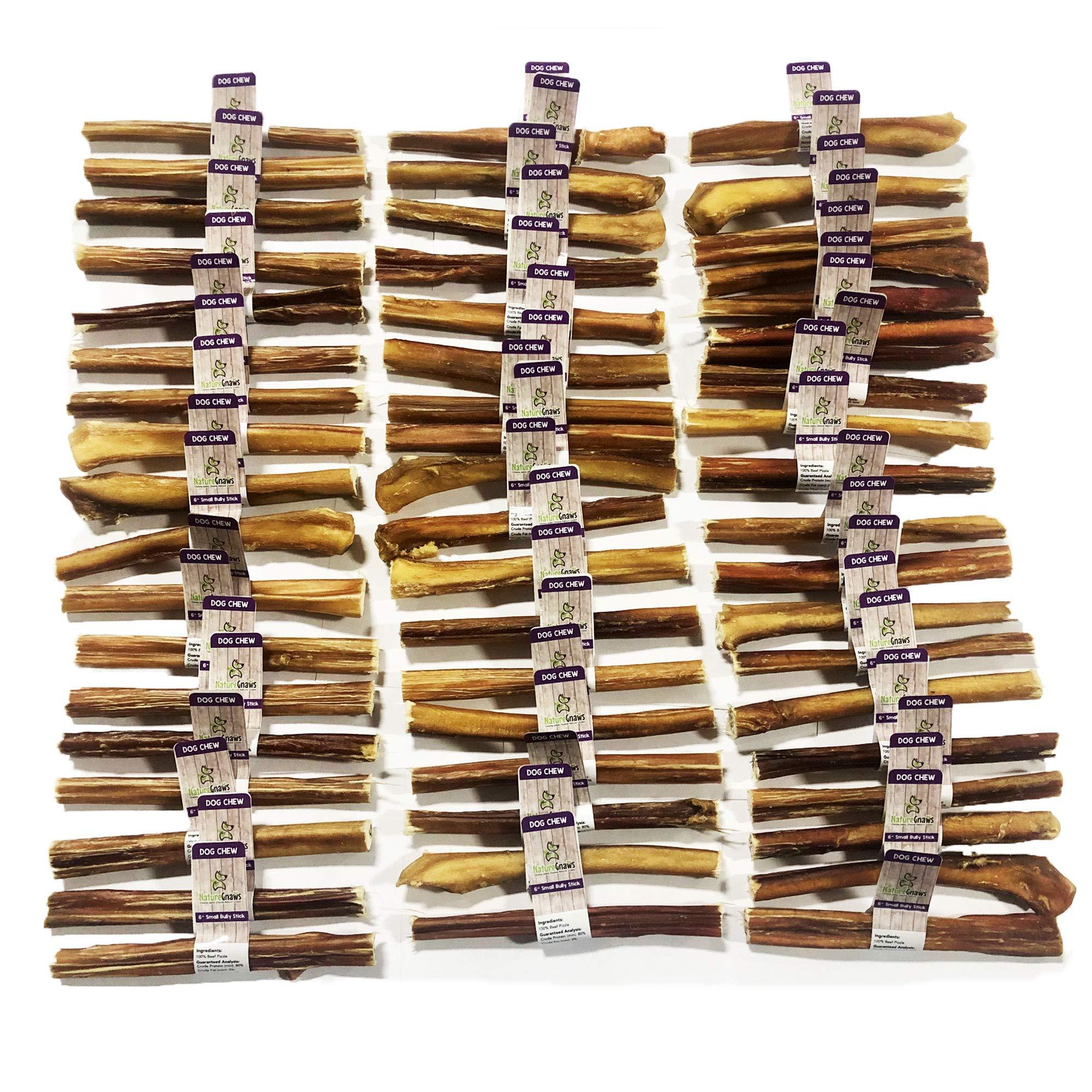 Nature Gnaws Small Bully Sticks (Bulk Box 150 Count) - 100% All-Natural Grass-Fed Free-Range Premium Beef Dog Chews