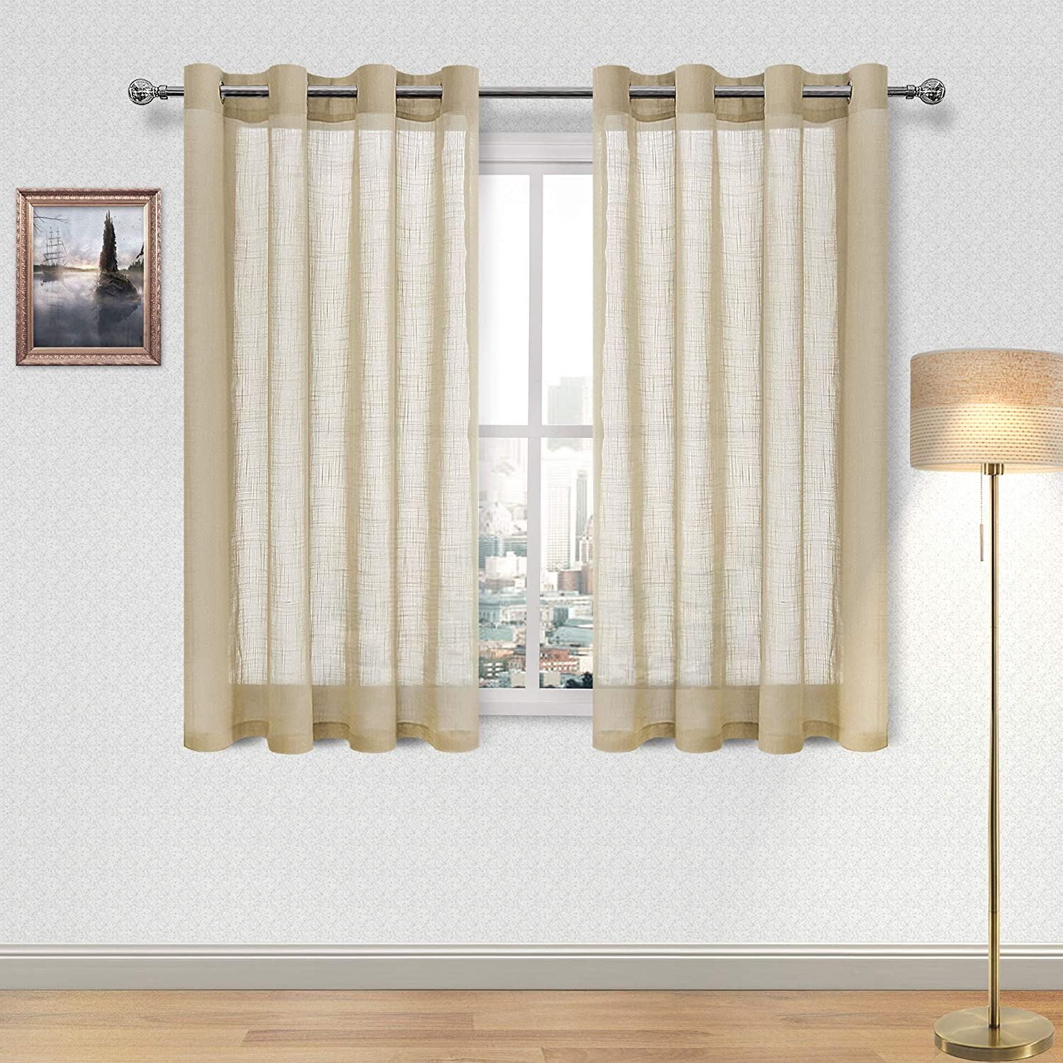 DWCN Faux Linen Sheer Curtain - Window Grommet Voile Curtains for Bedroom Living Room 52 x 54 Inch Length, 2 Panels, Beige