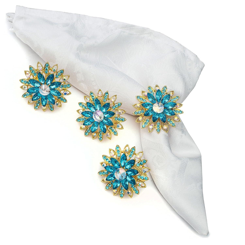Nicole Fantini Collection Emperor Blue Dahlia Rhinestone Napkin Rings Set of 4