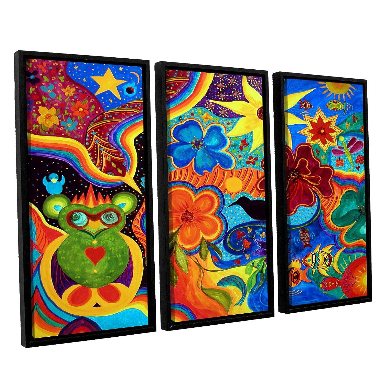 ArtWall Marina Petros Bluebird of Happiness 3 Piece Floater Framed Canvas Set 36 by 54
