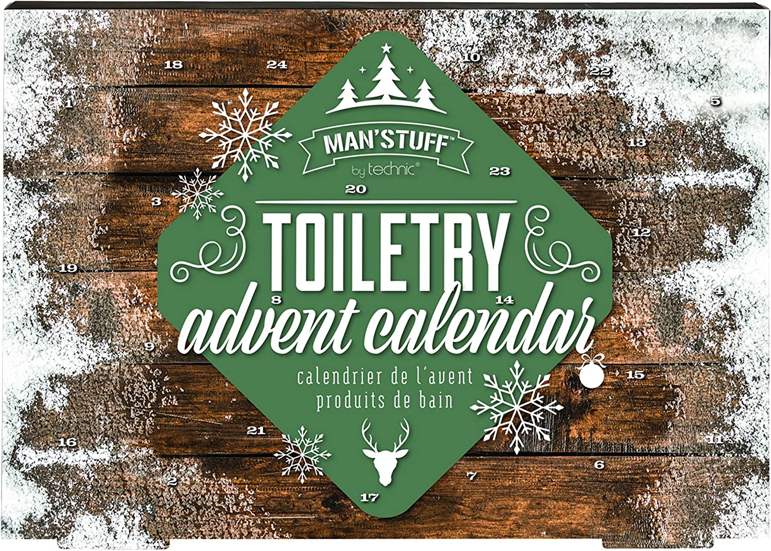 Man'Stuff Festive Countdown 24 Day Bath & Body Beauty Advent Calendar for Men Containing Cleansing and Grooming Essentials for Men: Kitchen & Dining