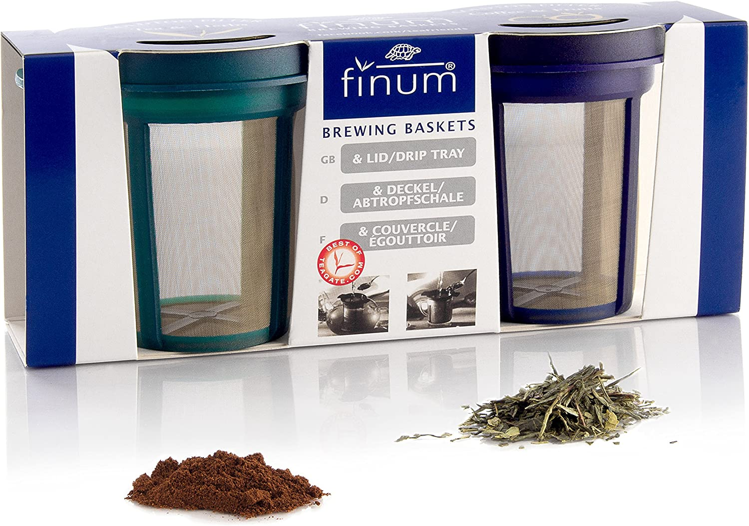 Finum (63/421.08.00) Goldton Reusable Stainless Steel Coffee and Tea Infusing Mesh Brewing Basket and Filters, Set of 2 Medium Sized Filters, Blue and Green