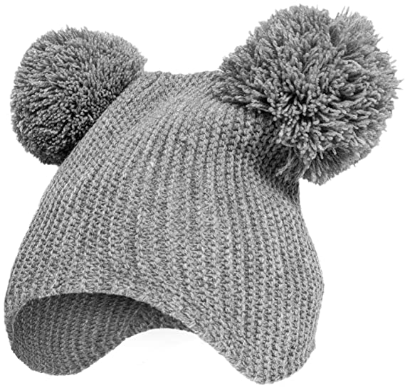 CalLife Baby Cute Beanie Hat Ear Flap Warm Winter Knitted Cap for Toddler  Infant (Grey 57c85688b02