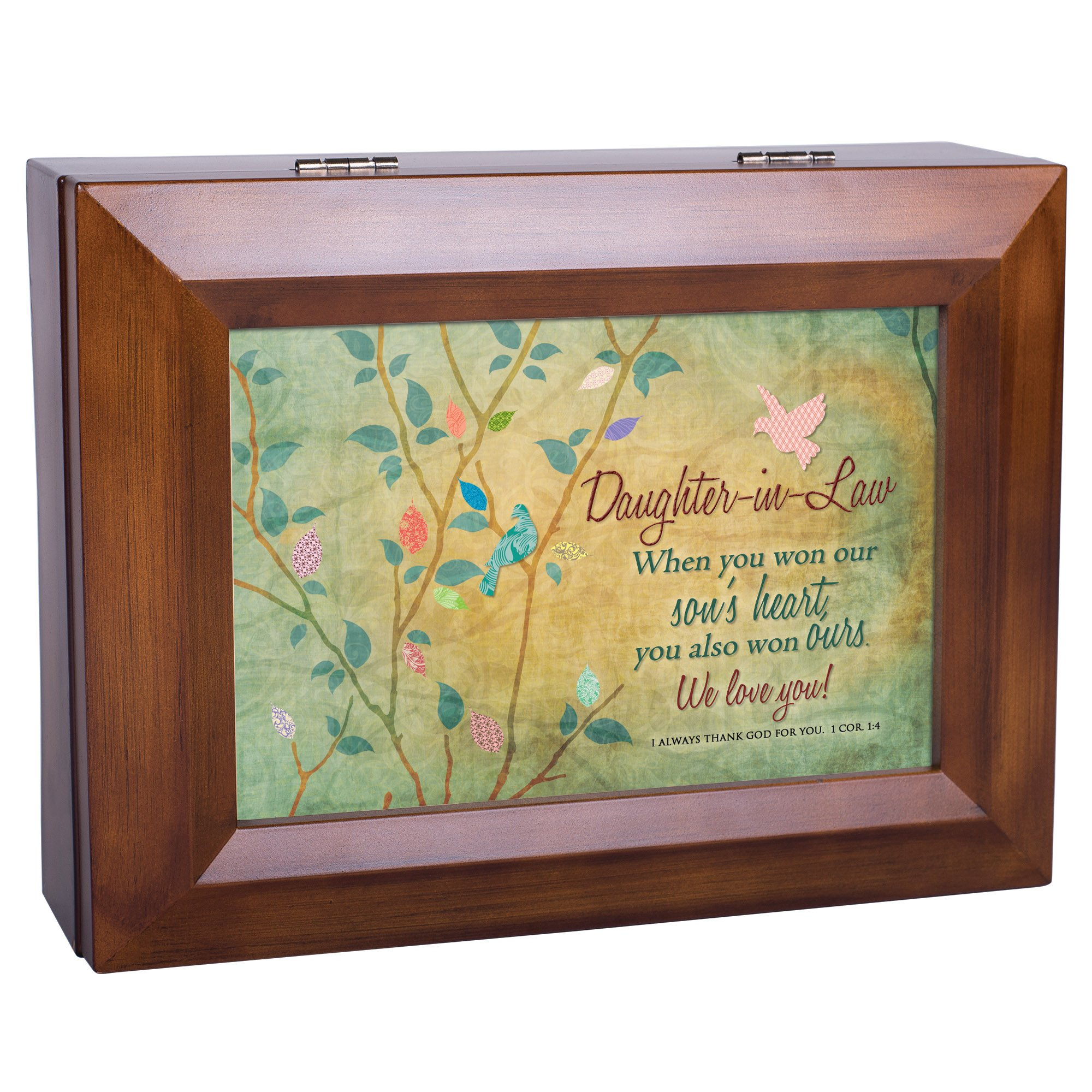 Cottage Garden Daughter-in-Law We Love You Wood Finish Jewelry Music Box - Plays Tune You Are My Sunshine by Cottage Garden (Image #3)