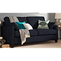 Serta Nina Track Arm Chenille Sofa with 2 Pillows (Navy)