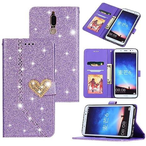 Funda para Huawei Mate 10 Lite Glitter Estuche Flip Tapa ...
