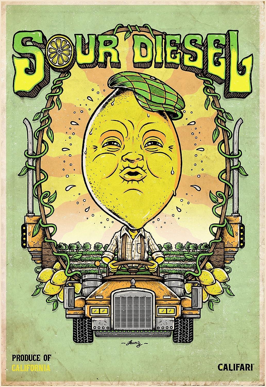 "Califari Sour Diesel - Vivid Strain Art Wall Poster, Decor for a Home, Dorm, Store, Dispensary, or Smoke Shop - 13"" x 19"" Lithograph Print"