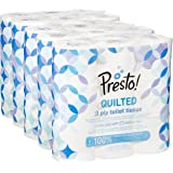 Amazon Brand - Presto! 3-Ply Quilted Toilet Tissues, 45 Rolls (5 x 9 x 200 Sheets)