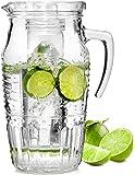 Bluespoon Glaskaraffe 'Romatica' mit Eiseinsatz | Füllmenge Karaffe 1,8 Liter | Hält Getränke kühl ohne zu verwässern | Glasprägung im schönen Vintage Design