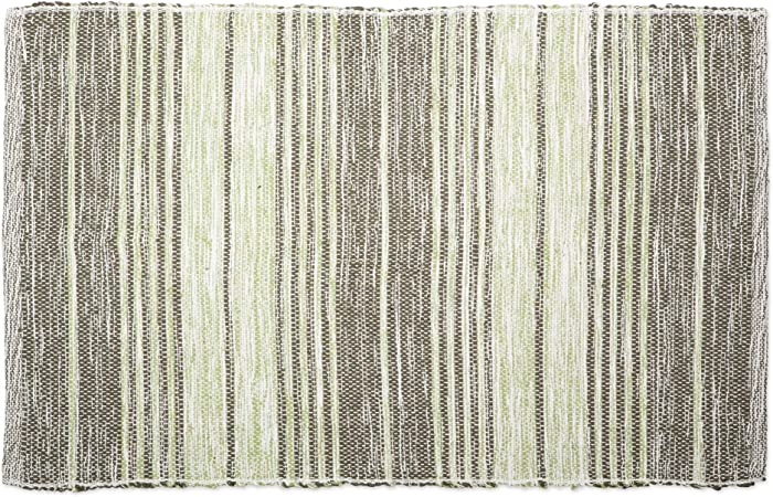 DII Contemporary Reversible Machine Washable Recycled Yarn Area Rug for Bedroom, Living Room, and Kitchen, 2'x3', Variegated Stripe Artichoke