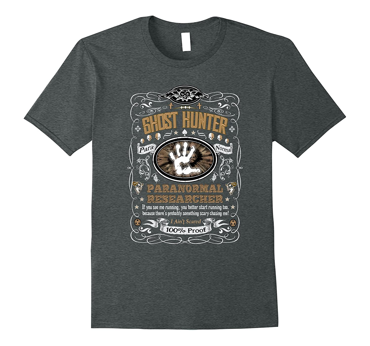 Vintage Whiskey Label Ghost Hunter T-Shirt-ANZ