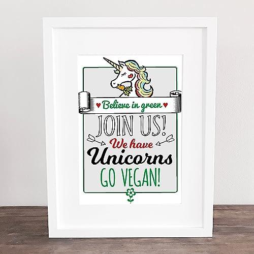 Geschenkidee Go Vegan Einhorn Geburtstag Vintage Poster