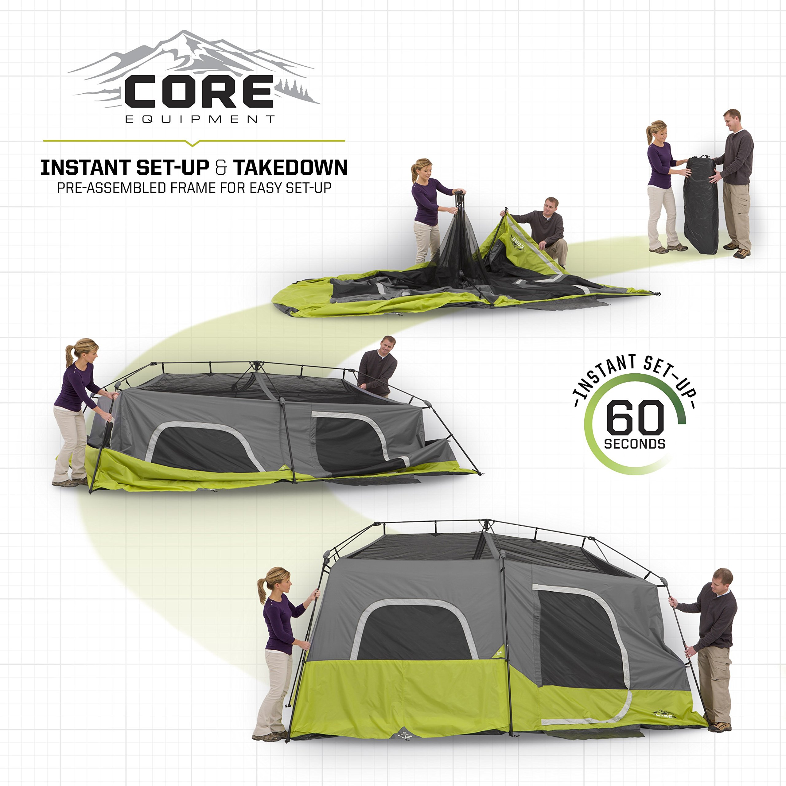 CORE 9 Person Instant Cabin Tent - 14' x 9' by CORE (Image #4)