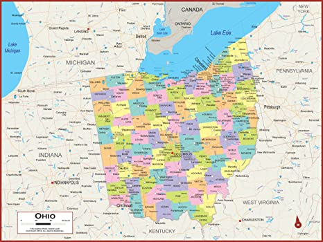 60 x 45 Giant Ohio State Wall Map Poster with Counties - Classroom Style  Map with Durable Lamination - Safe for Use with Wet/Dry Erase Marker -  Brass ...