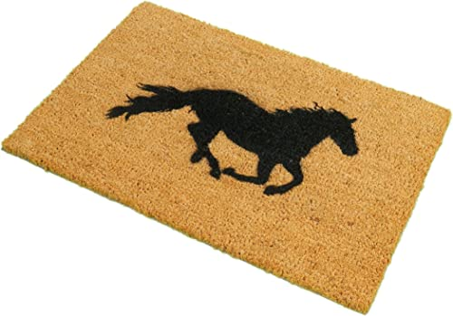 CKB Ltd Horse Novelty Doormat Unique Doormats Front Back Funny Door Mats Made with A Non-Slip PVC Backing – Natural Coir – Indoor Outdoor