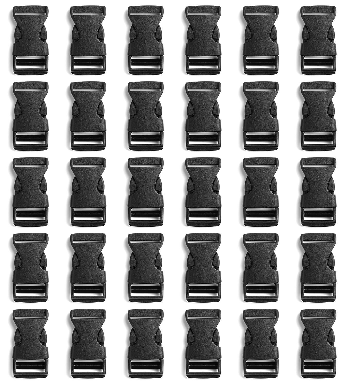 Tayeel 20 Pack 1 inch(25mm) Plastic Adjustable Side Release Buckles Black 080402-slk2.5