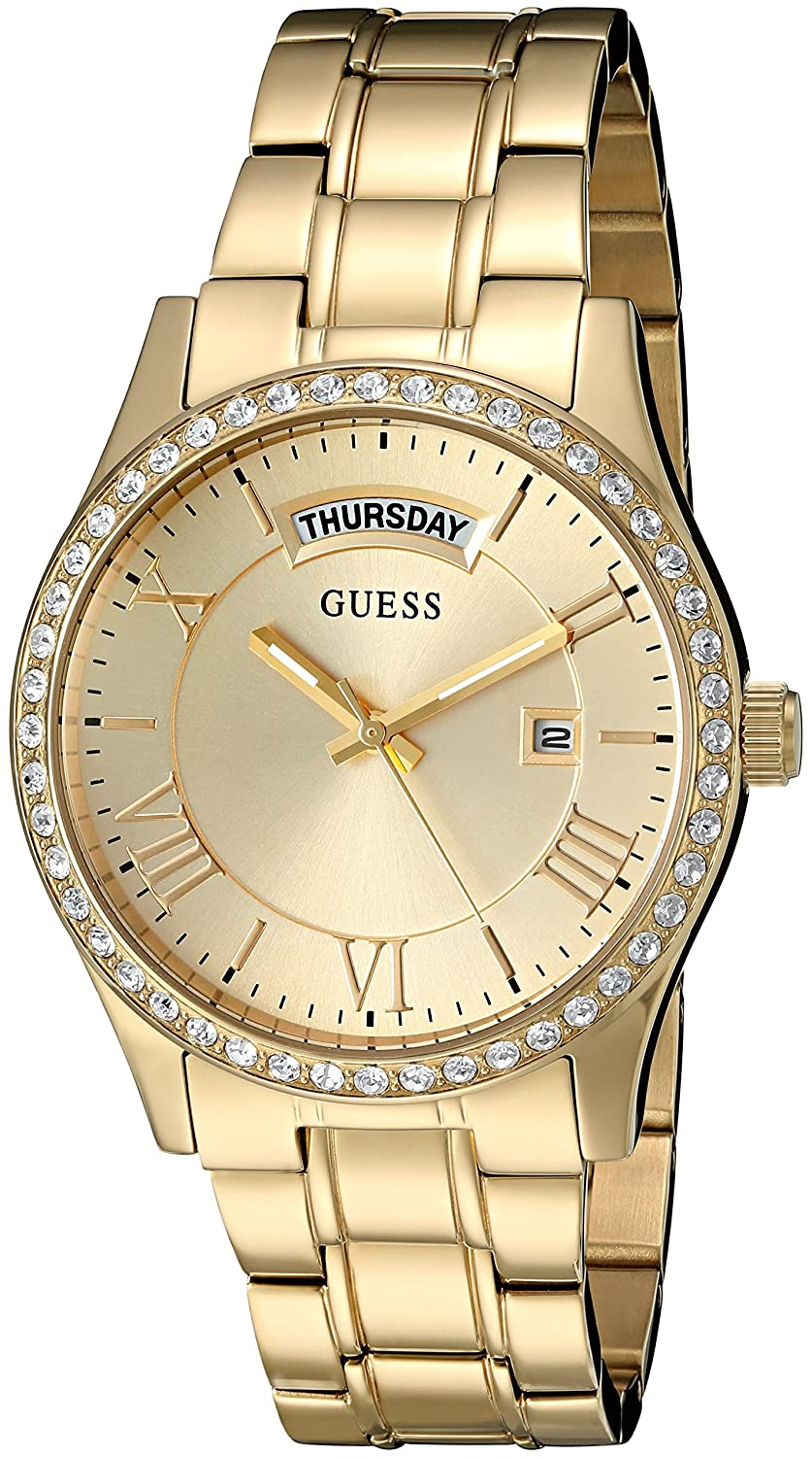 GUESS Women's U0764L2 Dressy Gold-Tone Stainless Steel Multi-Function Watch with Day & Date Dial and Pilot Buckle B0194Z8GV6ゴールドトーン