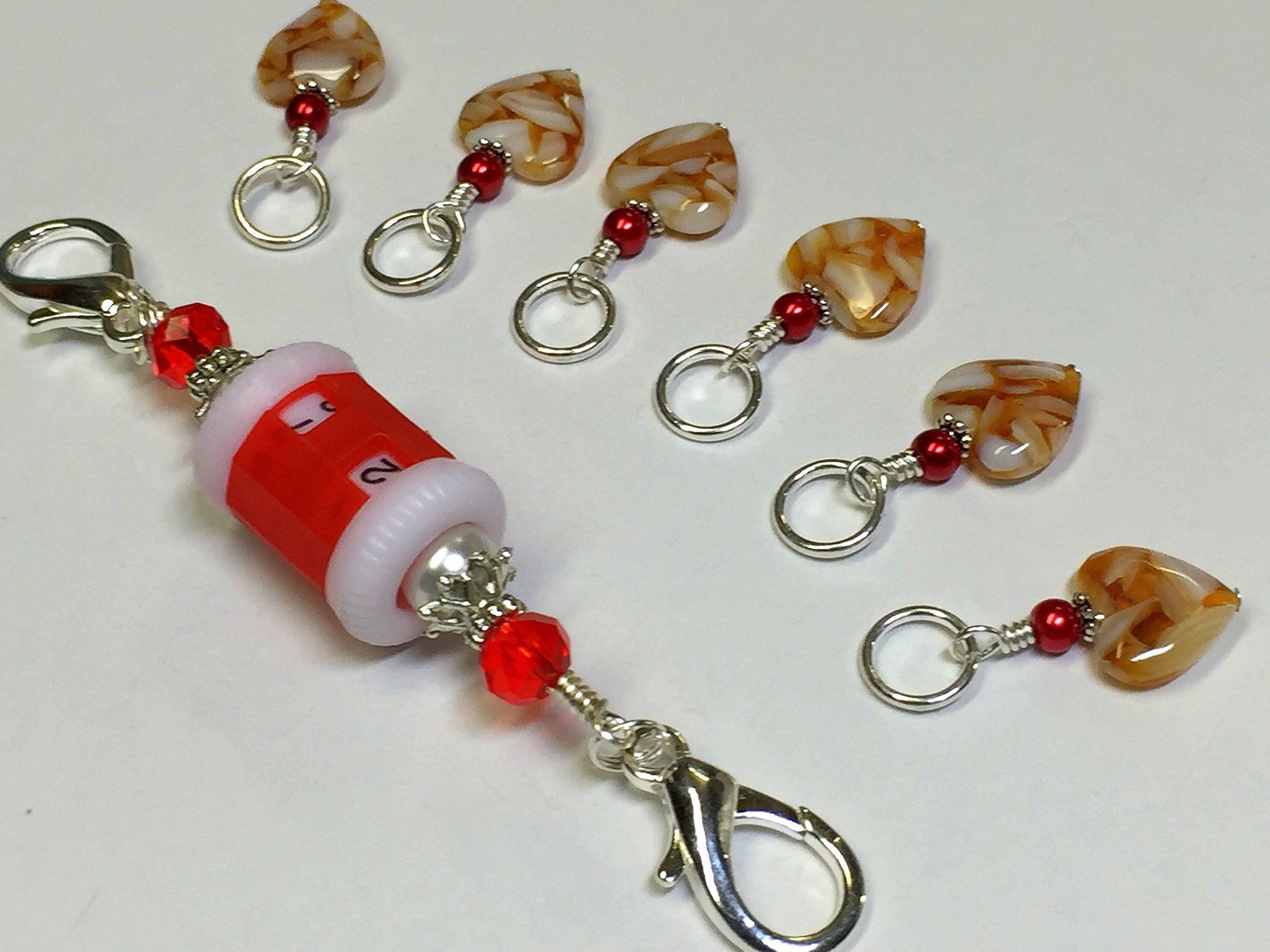 Amber Heart Stitch Marker Jewelry with Row Counter by Jill's Beaded Knit Bits