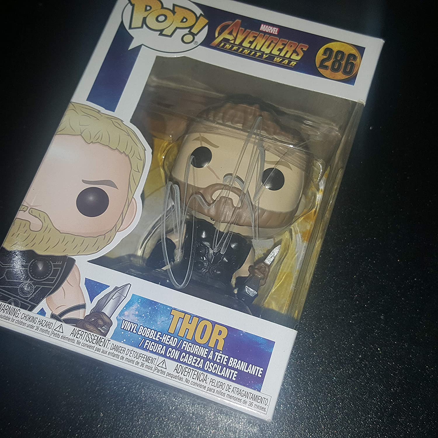 Chris Hemsworth - Autographed Signed THOR FUNKO POP 286 Vinyl Figure - Avengers Infinity War - MARVEL at Amazons Entertainment Collectibles Store