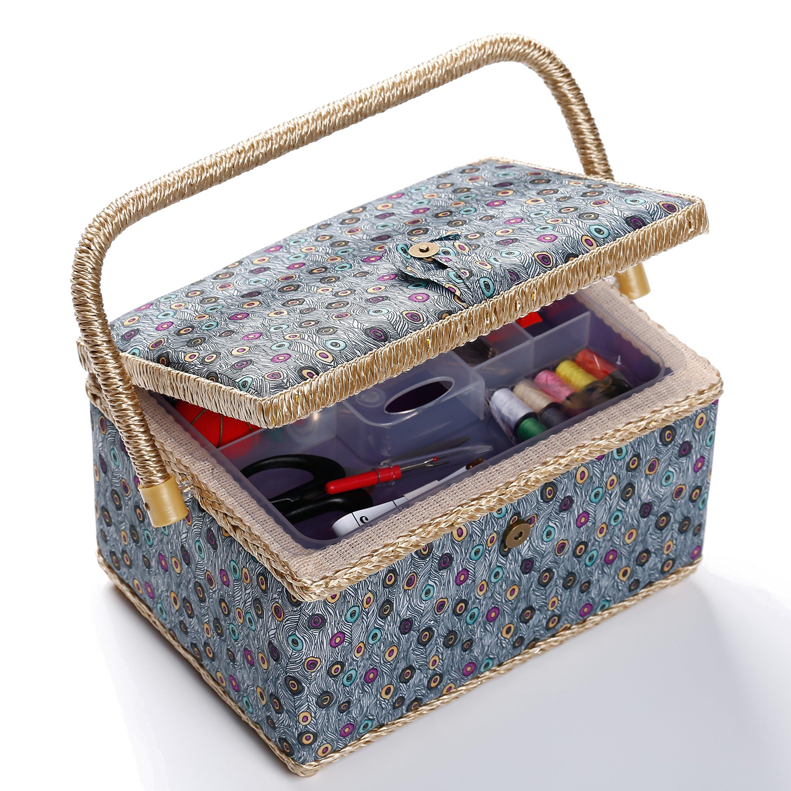 bbloop Medium Vintage Sewing Basket with Notions Package - Blue Peacock Style by bbloop