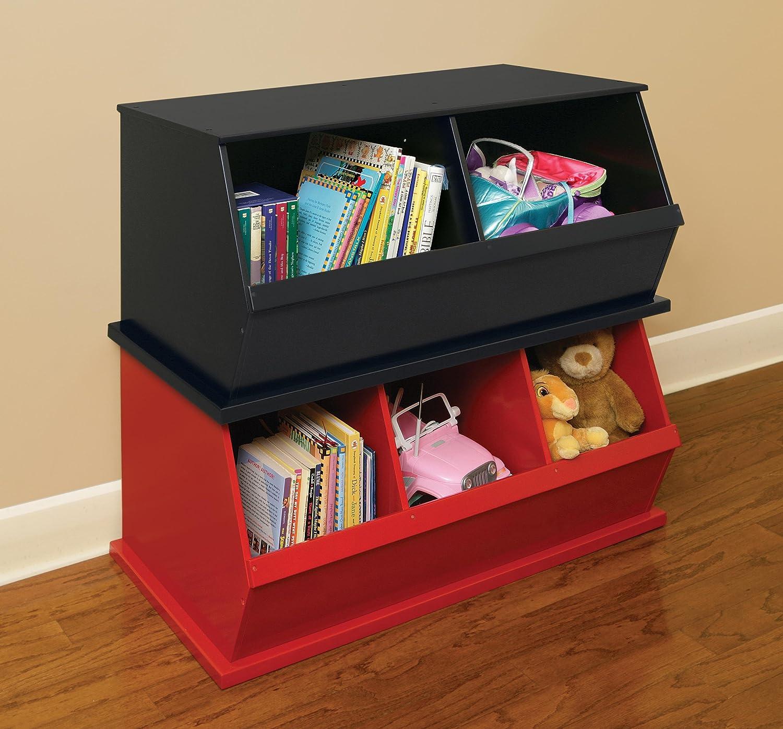 Amazon.com : Badger Basket Three Bin Storage Cubby, Red : Childrens Storage  Furniture : Baby