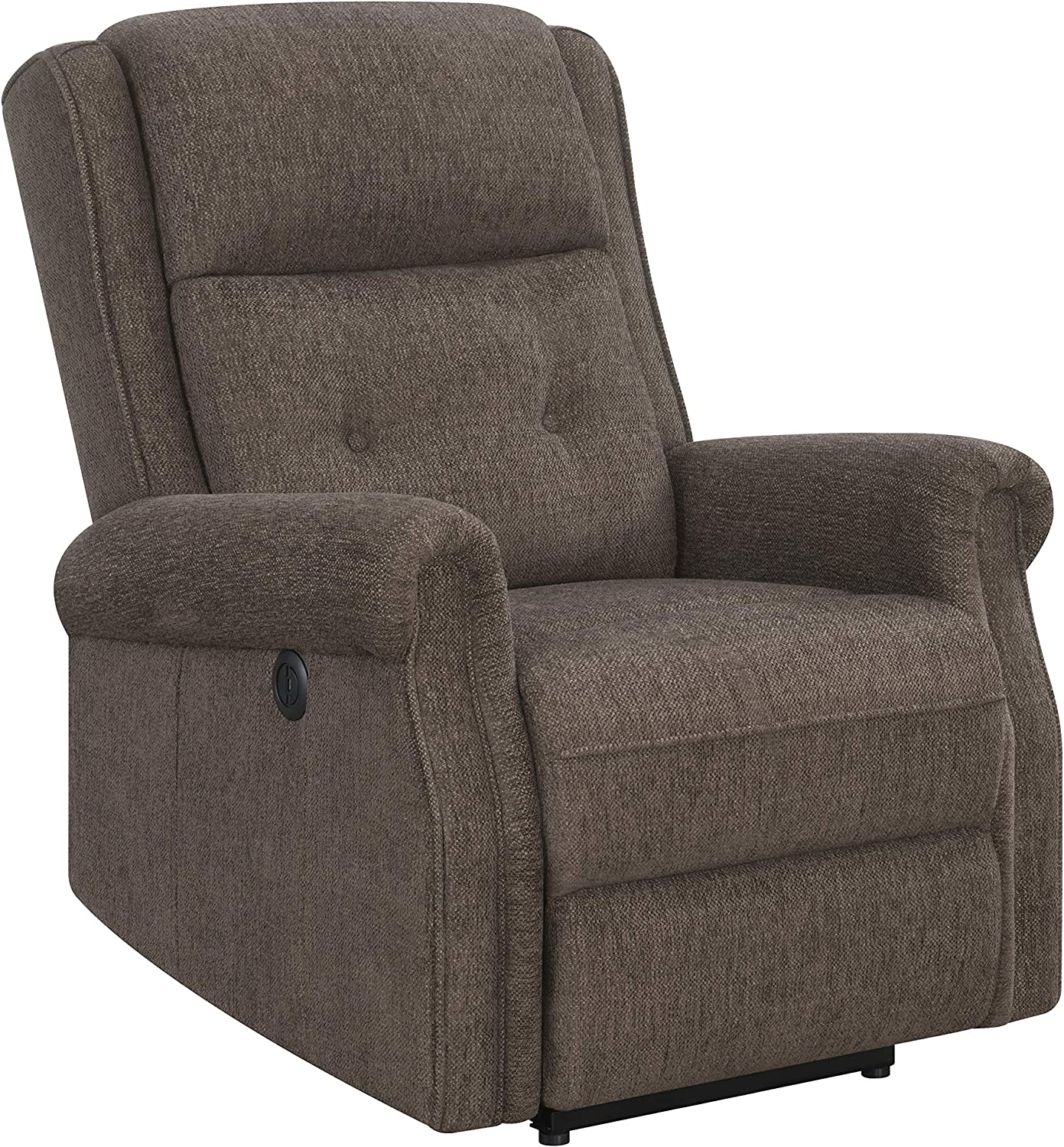Coaster Home Furnishings Round Arm Brown Power Recliner