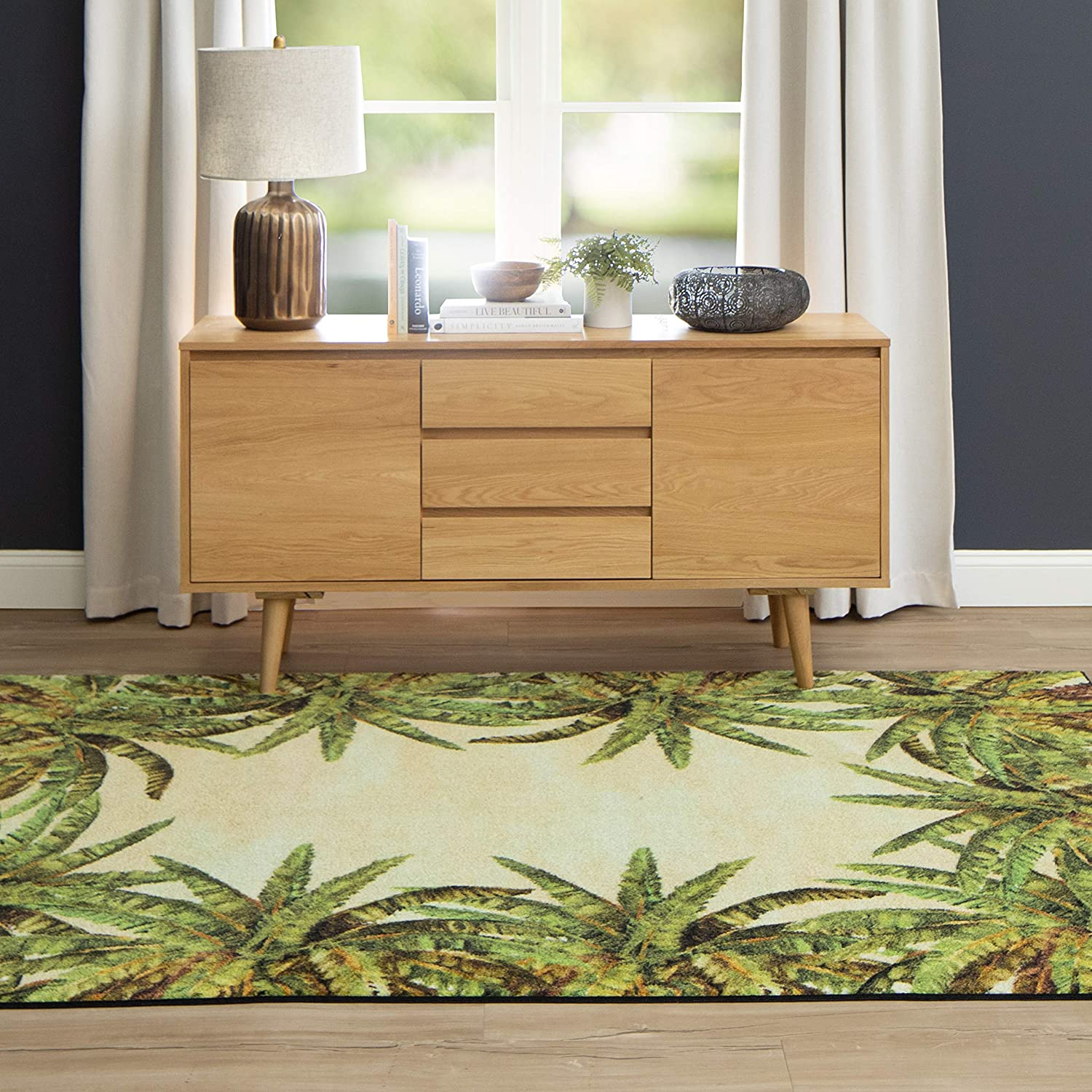 Amazon Com Mohawk Home Verde Palm Area Rug 5 0 X 8 0 Green Furniture Decor