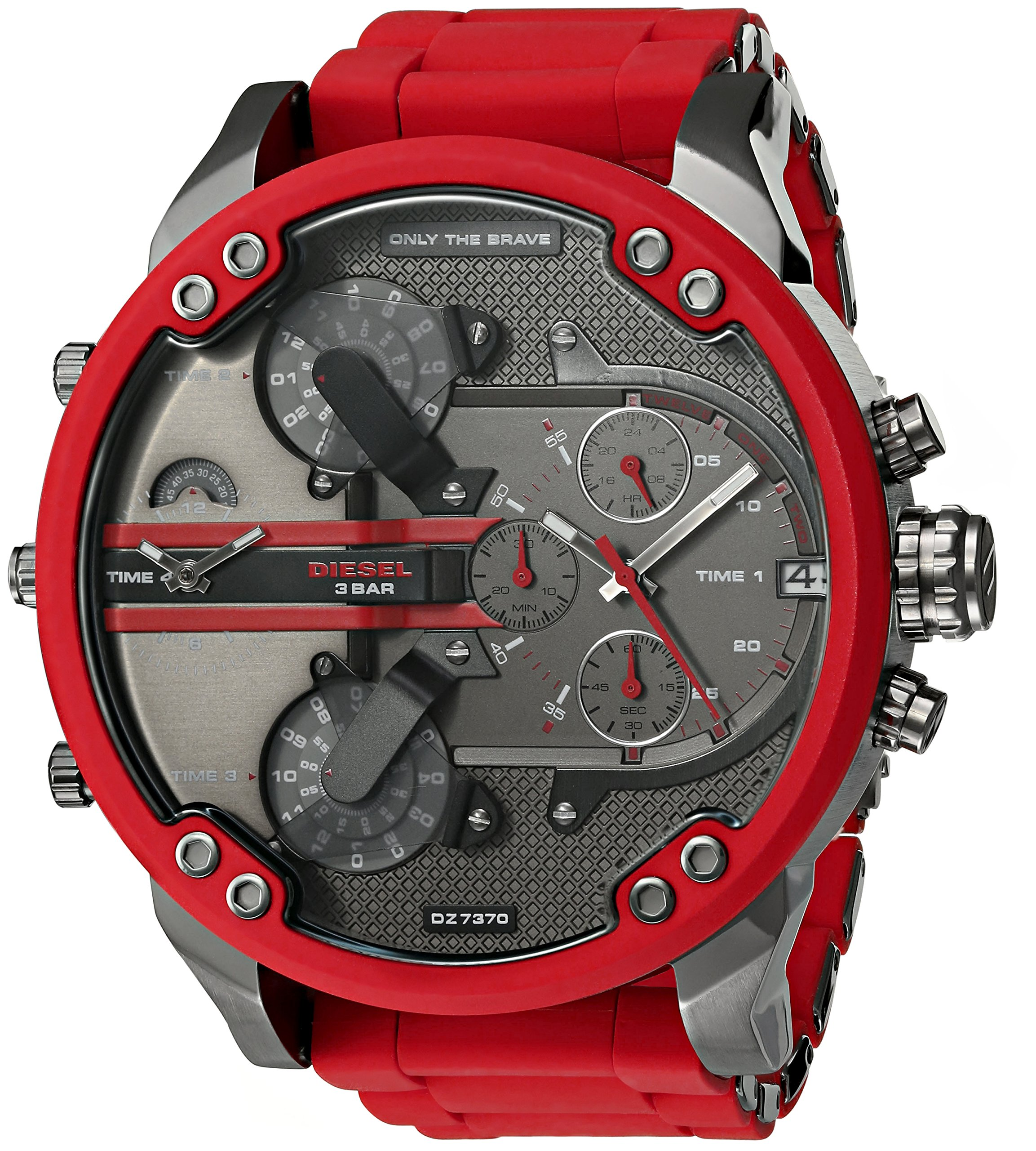 Diesel Mens Mr. Daddy 2.0 Multi-movement Red Silicone Wrapped Stainless Steel Watch DZ7370 by Diesel