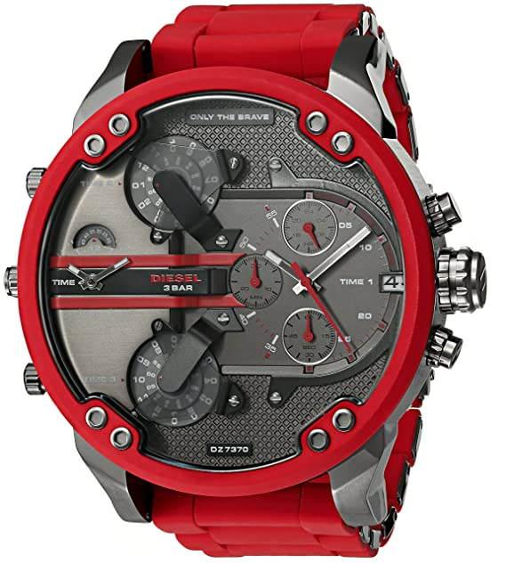997280b9c825 Amazon.com  Diesel Mens Mr. Daddy 2.0 Multi-movement Red Silicone Wrapped  Stainless Steel Watch DZ7370  Diesel  Watches