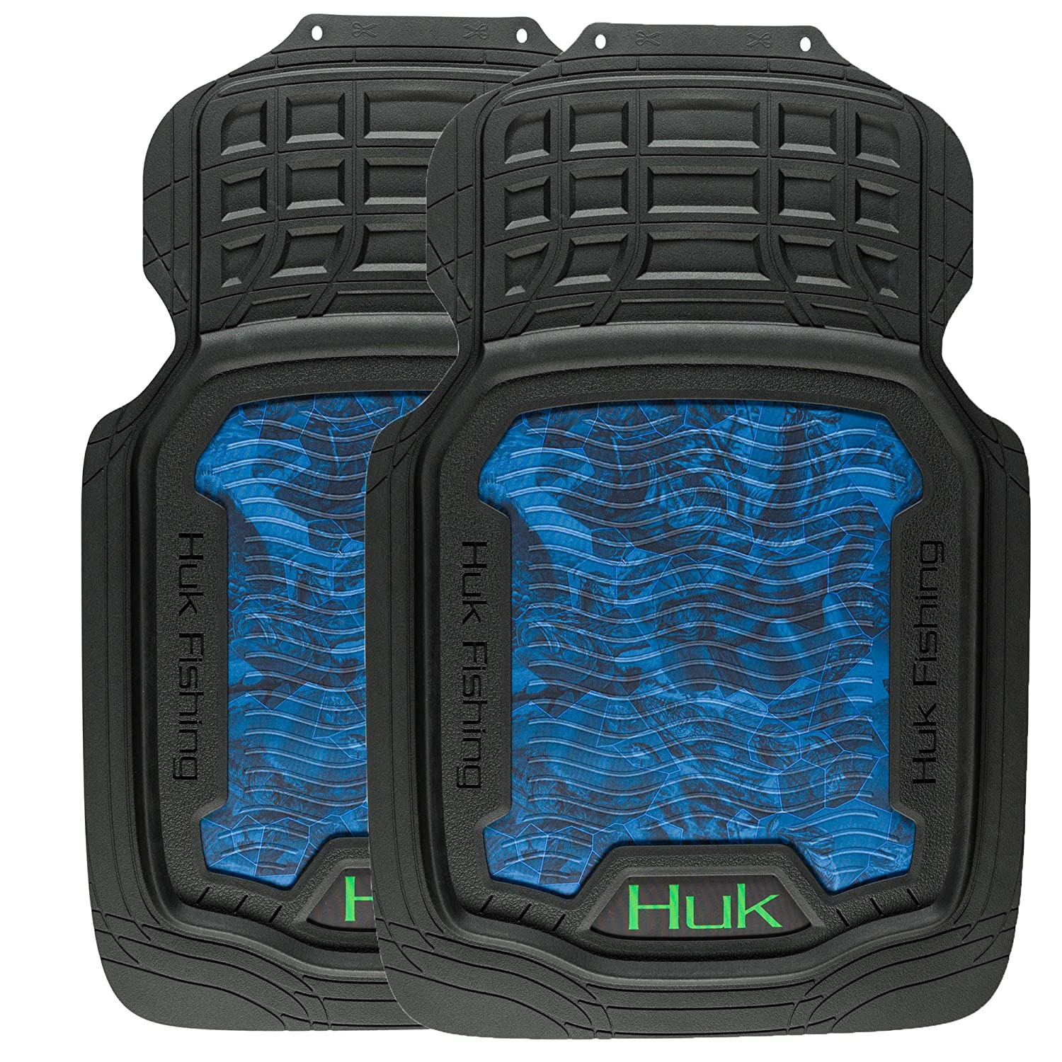 Huk Fishing Car and Truck Floor Mats, Premium Protection Against Water and Dirt, Set of 2
