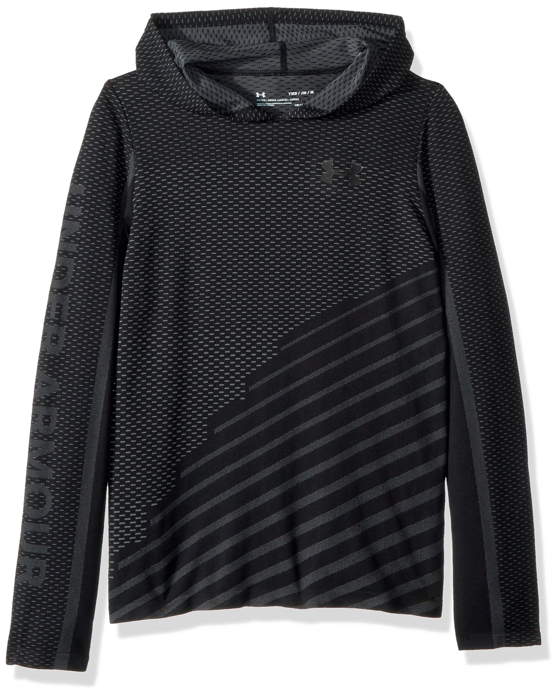 Under Armour Girls Seamless Hoodie, Black (001)/Black, Youth Medium by Under Armour
