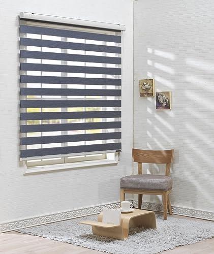 Custom Cut to Size , Winsharp Woodlook 107 , Pine , W 23 x H 95 inch Horizontal Window Shade Blind Zebra Dual Roller Blinds
