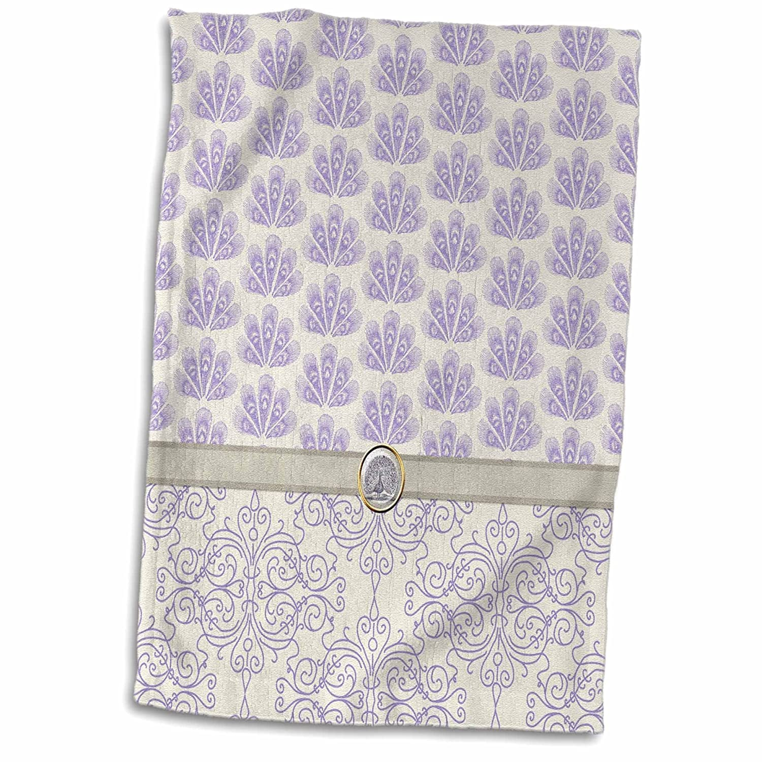 15 x 22 Multicolor 3D Rose Damask and Peacock Print-Lavender Towel
