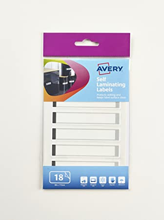 Avery 60-123 Self-Adhesive laminating Waterproof Labels, Hand Write only,  86 x 17 mm, 6 Labels Per Sheet - Grey