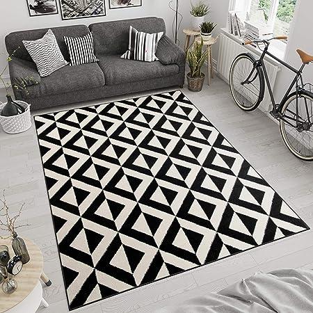 Tapiso Maroko Tapis de Salon Chambre Design Moderne Marocaine Noir Blanc  Motif 3D Géométrique Poil Court Fin 160 x 220 cm