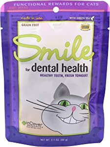 In Clover Smile Daily Dental Health Soft Chews for Cats, Support Healthy Teeth and Fresh Tongue with Catnip and Green Tea, Prebiotics, and Chlorophyll for Fresh Breath