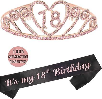 Amazon.com: Tiara y lazo para 18 cumpleaños, color rosa ...