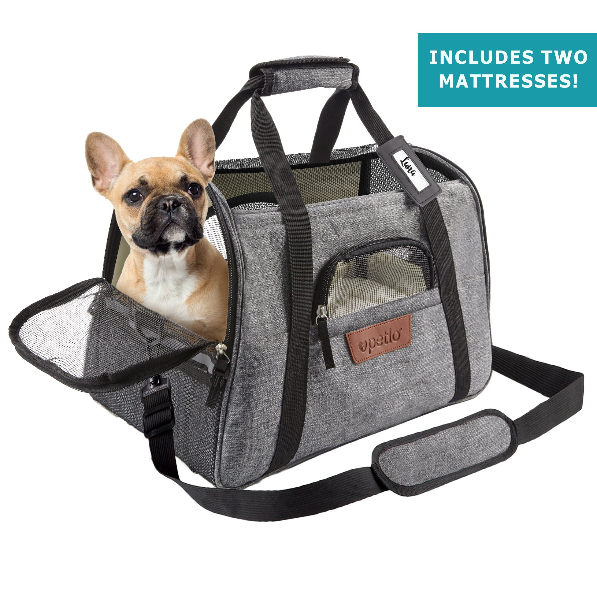 Airline Approved Pet Carrier - Soft Sided Portable Travel Bag with Mesh Windows and Fleece Padding - for Small Dogs and Cats – Fits Under Airplane Seat