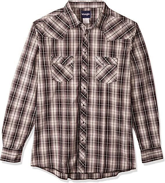 X-Large//Tall Wrangler Wrinkle Resist Spread Collar Plaid Shirt