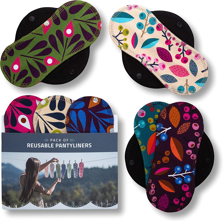 Salvaslips de tela reutilizables, 7-Pack Protege Slips de algodón ORGÁNICO con alas negras HECHAS EN LA UE, Compresas sin PUL, Toallas Sanitarias para ...