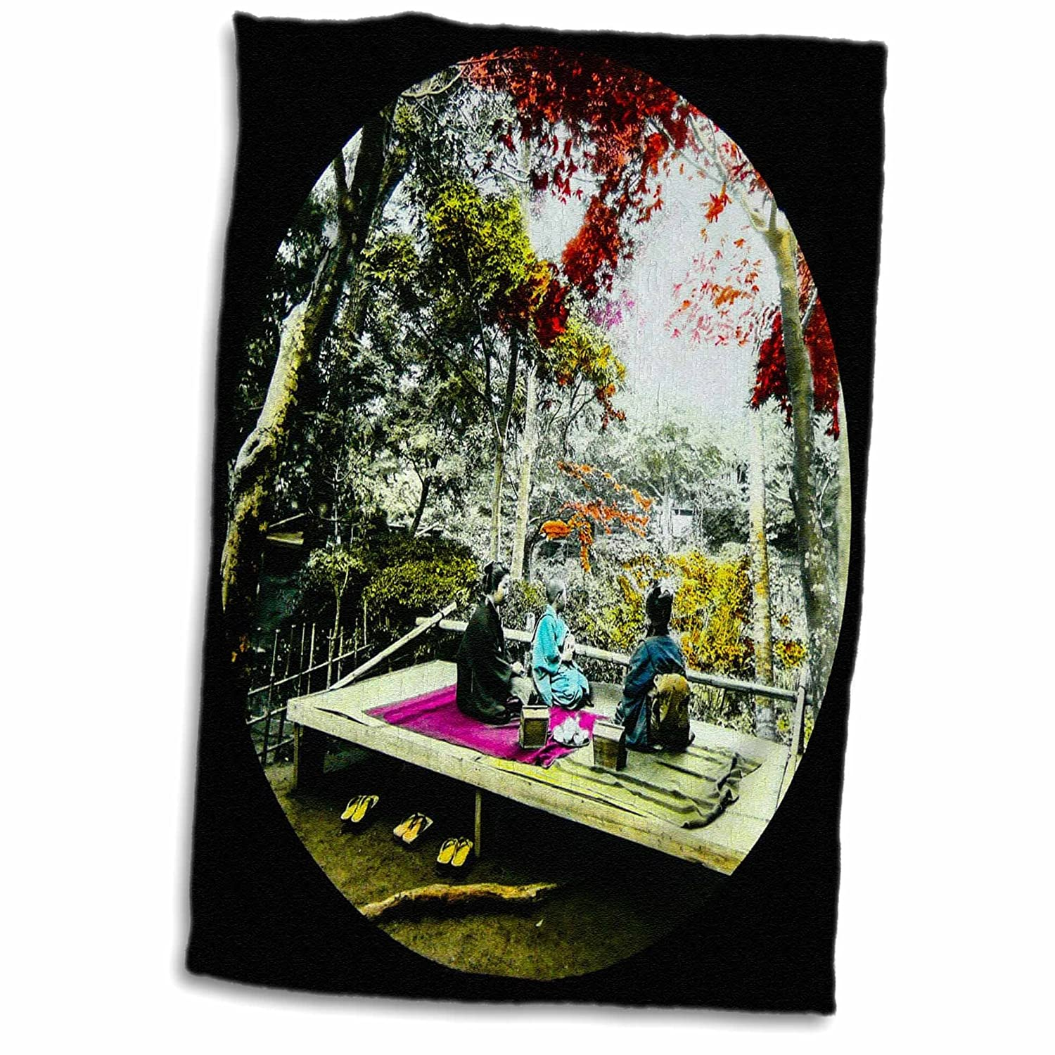 3D Rose A Picnic Under The Maple Leaves in Old Japan Vintage Colored Hand Towel 15 x 22