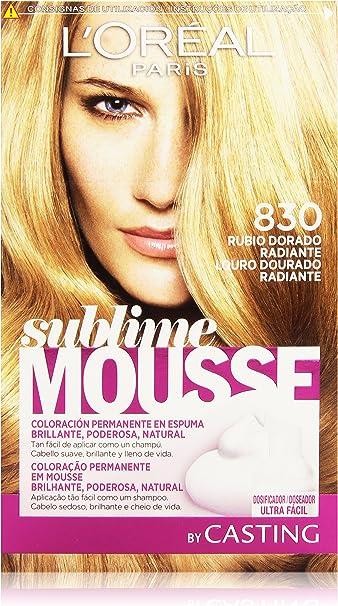 LOréal Paris Sublime Mousse Coloración Permanente, Tono: 830 Rubio dorado radiante