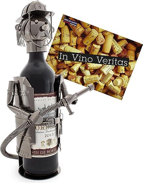Id/ée cadeau originale Carte de v/œux incluse Cult Oldtimer Objet d/écoratif BRUBAKER Porte-Bouteille de Vin Vintage Auto Flower-Power M/étal