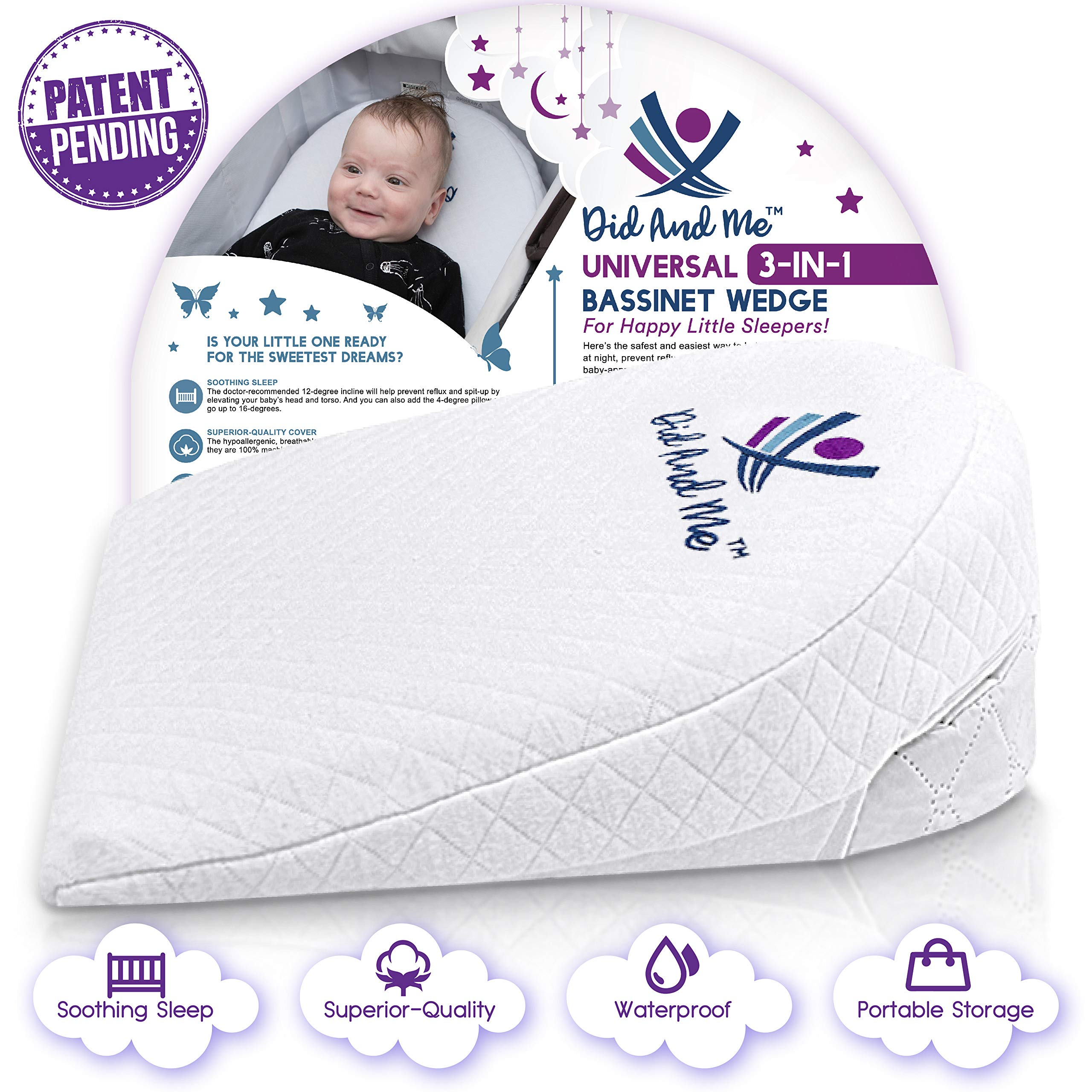 Bassinet Wedge Pillow for Baby - Universal - 3 Elevation Options for Better Sleep | Aids in Relieving Reflux | Nasal Congestion | Feeding - Happy Baby and Happy Parents - Cotton Fabric w/Carry Case by Did and Me