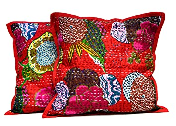 Krishna Mart India 2 Rojo Home Décor Funda de Almohada ...