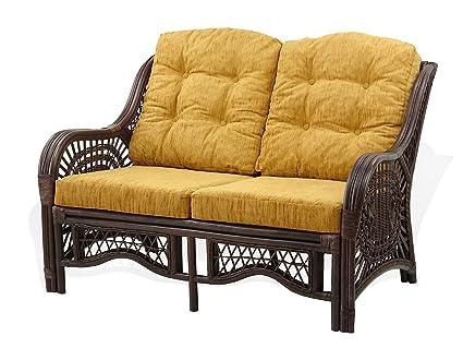 Strange Amazon Com Malibu Lounge Loveseat Sofa Natural Rattan Short Links Chair Design For Home Short Linksinfo