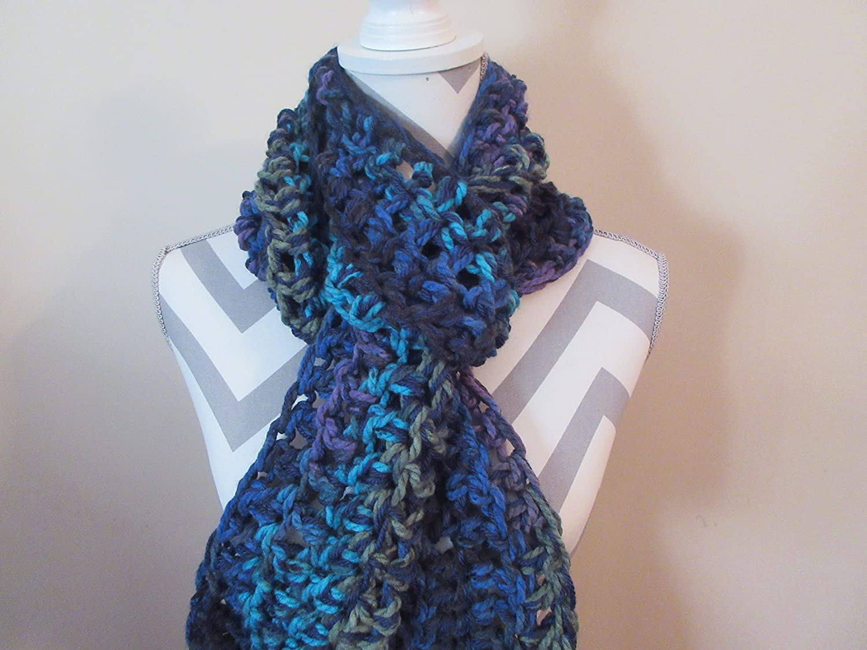 Amazon Handmade Crocheted Northern Lights Chunky Long Scarf