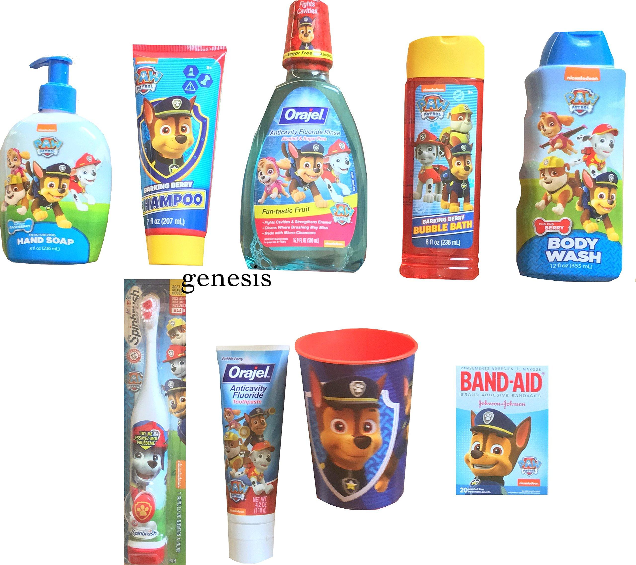 Paw Patrol Children's Bathroom Shampoo, Body Wash, Bubble Bath & Dental Kit Gift Set 9 Pcs by PAW