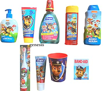 Paw Patrol Childrens Bathroom Shampoo, Body Wash, Bubble Bath & Dental Kit Gift Set 9 Pcs