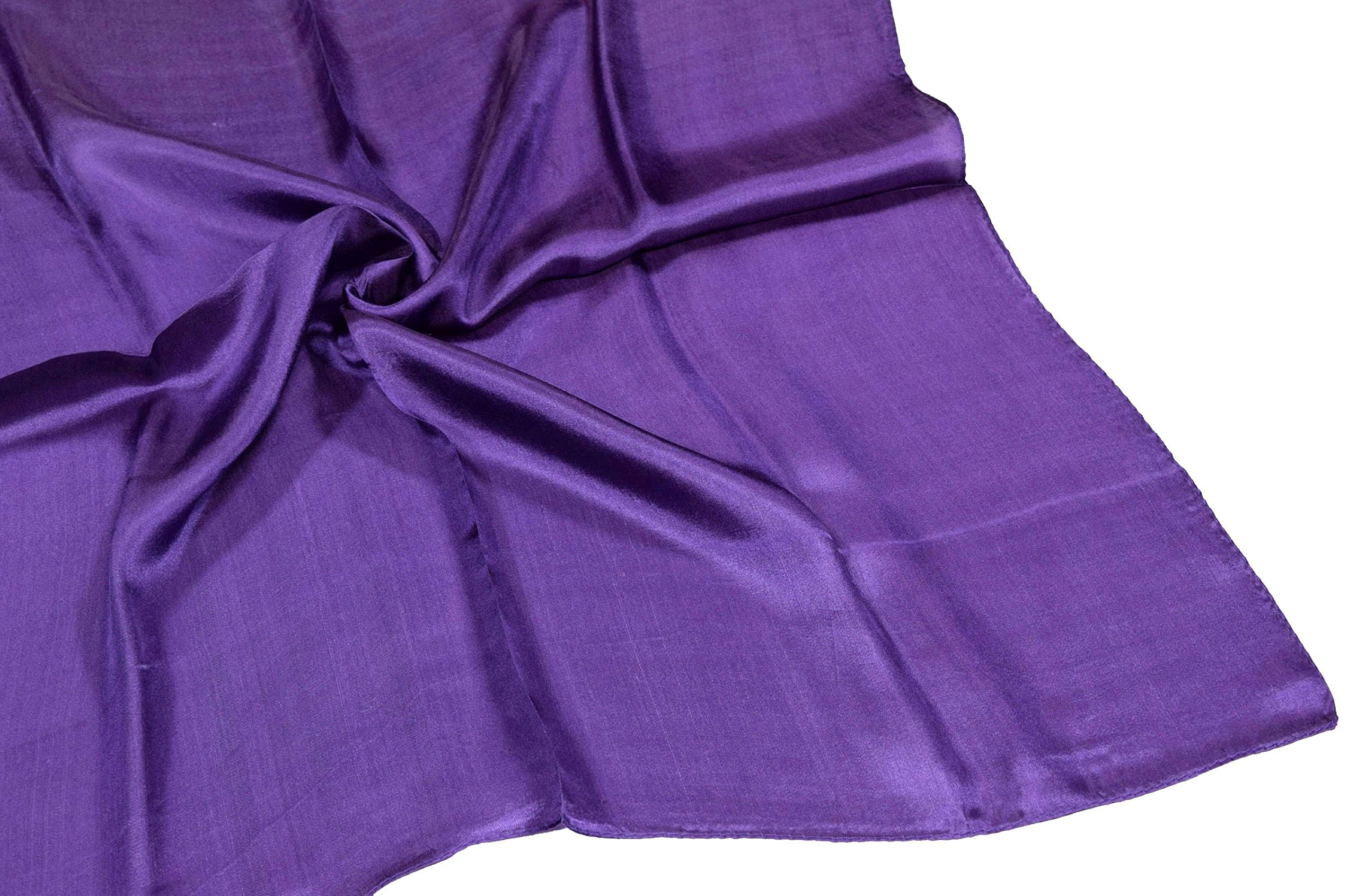 Deep Purple Small Fine Silk Square Scarf by Bees Knees Fashion (Image #4)